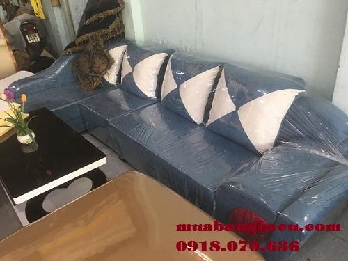 Thanh Lý Bộ Sofa Vải Cao Cấp Màu Xanh -1