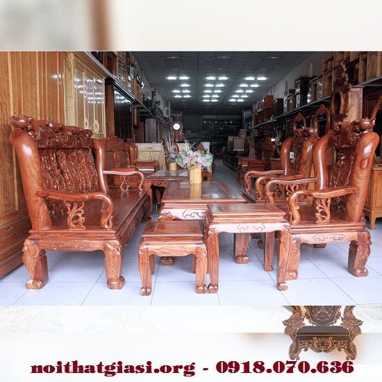 Thanh Lý Bộ Salon Gỗ Hương Vân Tay 12 Chạm Đào Giá Rẻ -1