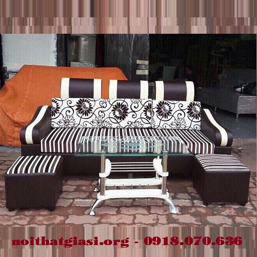 Bộ Sofa Mini Gia Đình Cao Cấp Màu Nâu Trắng -1