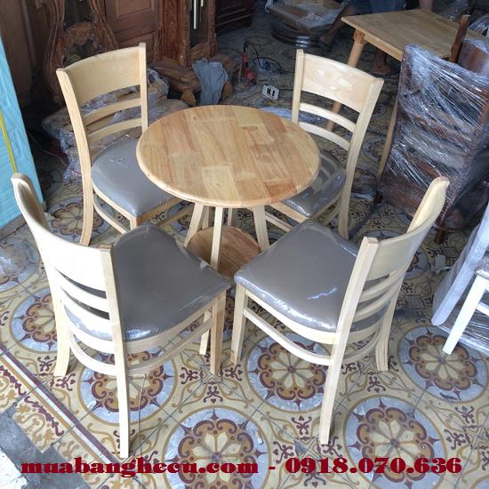 Bộ Bàn Ghế Cafe Cabin 4 Ghế Bàn Tròn Giá Rẻ -1