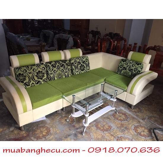 Sofa Cũ Chữ L Màu Xanh Kem -1
