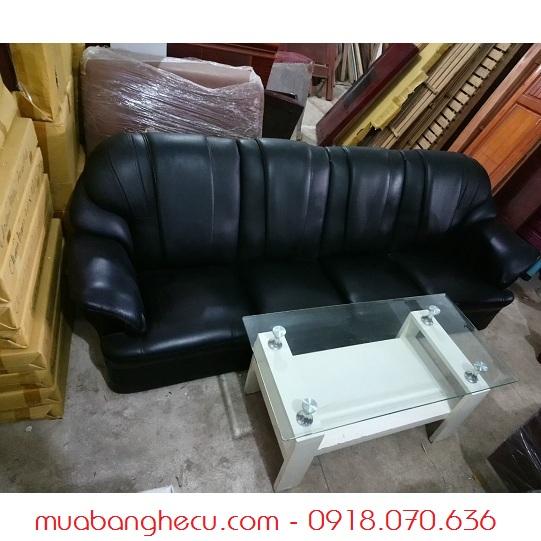 Sofa Cũ Bọc Da Màu Đen -1