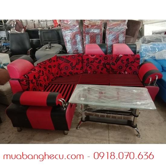 Sofa Cũ Bọc Da Nệm Vải Màu Đỏ Đen -1