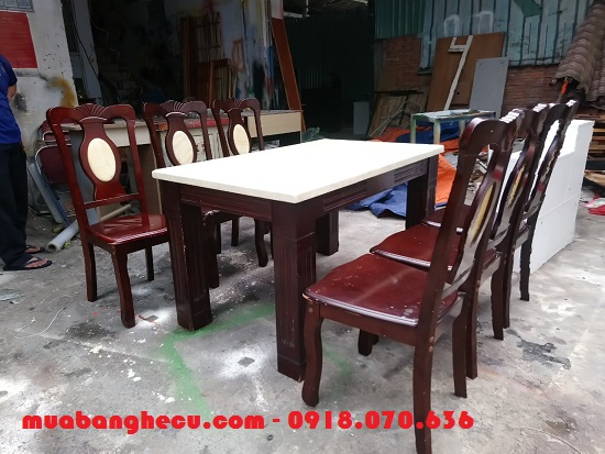 Bộ bàn ăn mặt đá 6 ghế: Hình 1