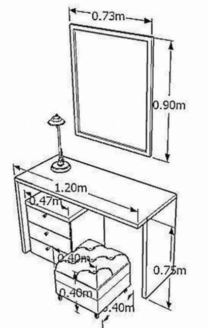 kích thước chuẩn bàn trang điểm
