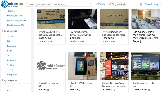 tivi đã qua sử dụng giá rẻ